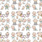 Seamless design with infants - stock illustration