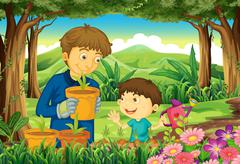 A father and a son at the forest watering the plants Stock Illustration