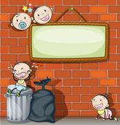 A hanging empty signboard with infants - stock illustration