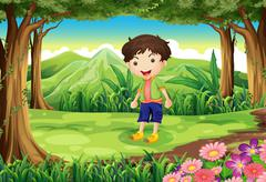 Stock Illustration of A playful kid at the forest