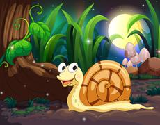 A snail in the forest Stock Illustration
