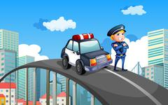 A patrol car and a policeman in the middle of the highway - stock illustration