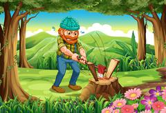 A hardworking lumberjack chopping woods at the forest Stock Illustration