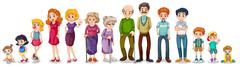 A big extended family Stock Illustration