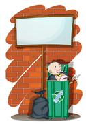 A baby inside the trashcan below an empty signboard Stock Illustration