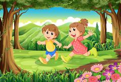 Children running at the woods - stock illustration