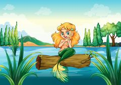 A mermaid above the log - stock illustration