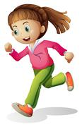 Stock Illustration of A young lady jogging