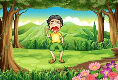 A boy crying at the woods - stock illustration
