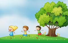 Three energetic kids playing at the hilltop with a big tree Stock Illustration