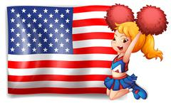 Stock Illustration of An energetic cheerleader from the USA