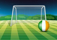 A ball at the field with the flag of Ireland Stock Illustration