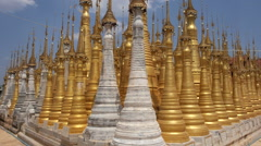 Buddhist Pagodas at Shwe Inn Thein Temple, Inle Lake, Myanmar (Burma) Stock Footage