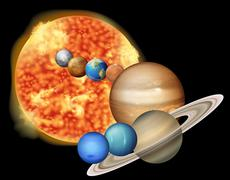 Sun and planets Stock Illustration