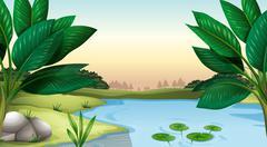 A pond Stock Illustration