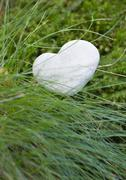 Heart shaped stone in long grass - stock photo