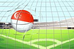 A soccer ball with the flag of Singapore hitting a goal Stock Illustration