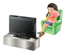 A young girl watching TV - stock illustration