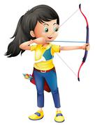 A young girl playing archery - stock illustration