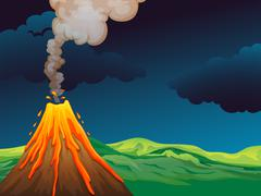 A volcano - stock illustration