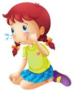 A young lady crying - stock illustration