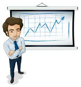 Stock Illustration of A handsome businessman standing in front of the bulletin board