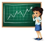 A woman explaining the graph Stock Illustration