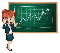 Stock Illustration of A lady using her cellular phone in front of the blackboard