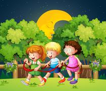 Three kids outdoor walking in the middle of the night - stock illustration
