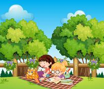 Kids studying outdoor with a cat Stock Illustration