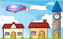 An airship carrying an empty banner - stock illustration