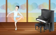 A ballet dancer inside the studio with a piano - stock illustration