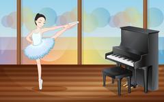 A ballerina dancing near the piano inside the studio - stock illustration