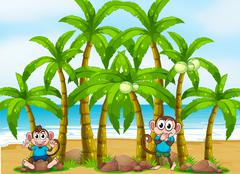 Stock Illustration of A beach with tall coconut trees and playful monkeys