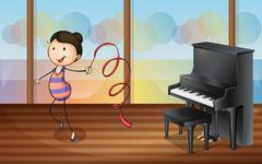 Stock Illustration of A gymnast inside the music room