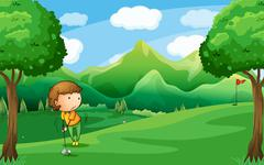 A woman playing golf Stock Illustration