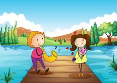 A young man serenading her girlfriend at the riverbank Stock Illustration