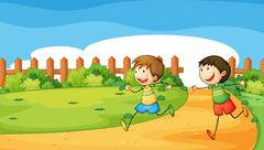 Two boys playing inside the wooden fence - stock illustration