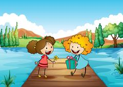 Two cute girls exchanging gifts at the river Stock Illustration