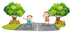 Two kids playing at the street - stock illustration