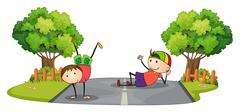 Two kids playing in the middle of the road Stock Illustration
