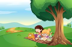 Kids reading under the tree with a cat Stock Illustration
