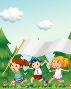 Kids running with an empty banner Stock Illustration