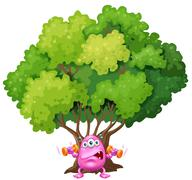 Stock Illustration of A pink monster exercising under the tree