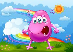 An angry monster with a rainbow in the sky Piirros