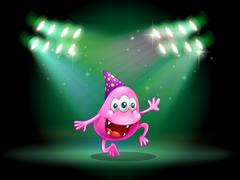 A monster dancing in the middle of the stage Stock Illustration