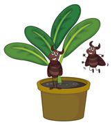 A plant with two playful insects - stock illustration