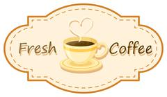 A fresh coffee logo with a cup of brewed coffee - stock illustration