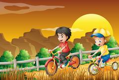 Kids biking at the woods - stock illustration