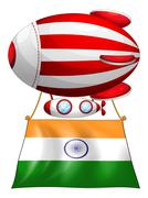 The flag of India attached to the floating balloon - stock illustration